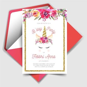 Magisch de uitnodigingskaart van de eenhoornverjaardag