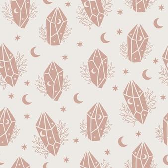 Magisch en hemels naadloos patroon met magisch kristal