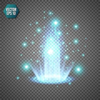 Magisch fantasieportaal. futuristische teleport. licht effect. blauwe kaarsenstralen van een nachtscène met vonken op een transparante achtergrond. leeg lichteffect van het podium. disco club dansvloer.