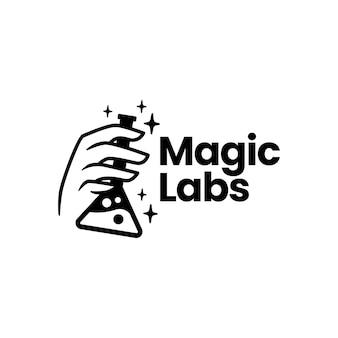 Magisch laboratorium laboratorium hand logo sjabloon