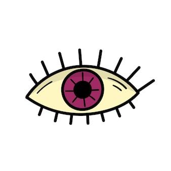 Magisch oog voor halloween. een teken van hekserij en magie. doodle stijl illustratie