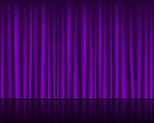 Magisch podium met paars gordijn naadloos sjabloon