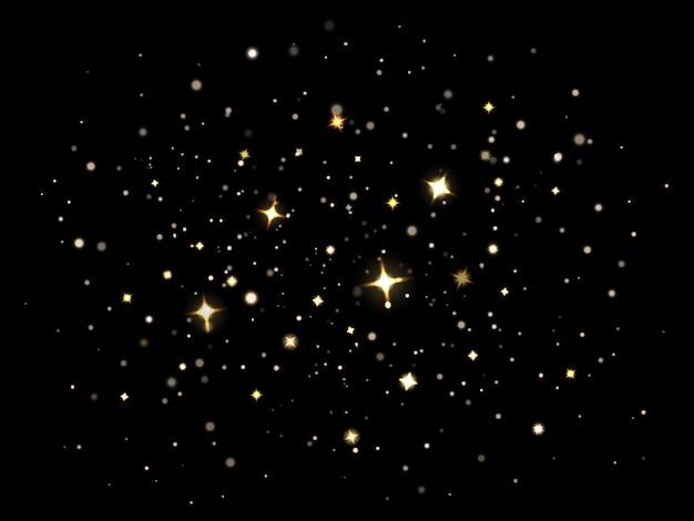 Magisch sprankelend stof. deeltjes die magische fonkelende sterren verlichten, sprankelend gouden glitterstof. sparkle flare lichteffect illustratie set. sterrenhemel kerstnacht hemel decoratie