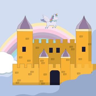 Magisch vector de illustratie grafisch ontwerp van het kasteelbeeldverhaal