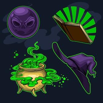 Magische attributen van heksen een hoed, een boek, een ketel met een drankje en een magische bal