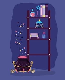 Magische boeken en hoed met konijn en drankjes
