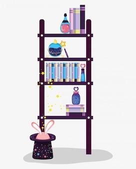 Magische boeken met drankjes en hoed met konijn