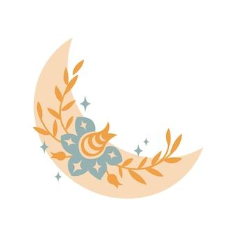 Magische boho wassende maan met bladeren, sterren, bloem geïsoleerd op een witte achtergrond. platte vectorillustratie. decoratieve boho-elementen voor tatoeage, wenskaarten, uitnodigingen, bruiloft