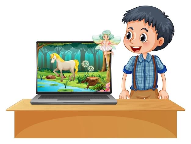 Magische bos bureaubladachtergrond op laptop