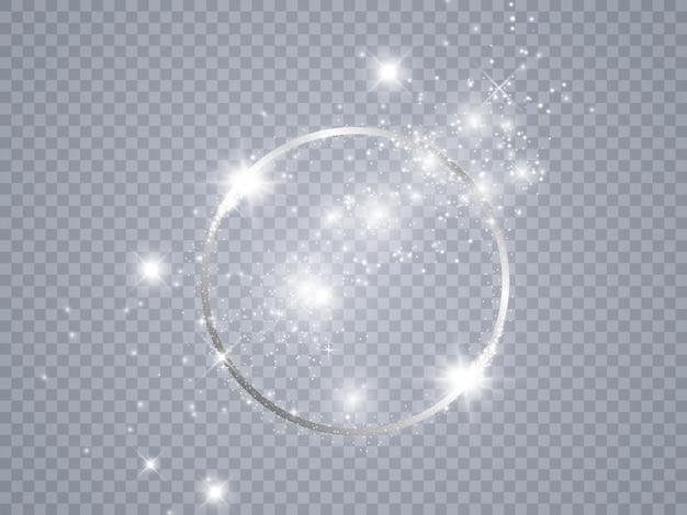 Magische cirkel kostbare achtergrond. rond gouden glanzend frame met lichte uitbarstingen. ronde glanzende frame achtergrond.