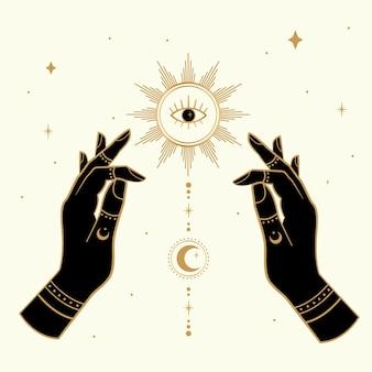 Magische die handen met zon en maan worden getrokken