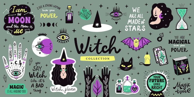 Magische doodle heks illustratie pictogrammen instellen. magie en hekserij, heks esoterische alchemie-elementen. vector illustratie