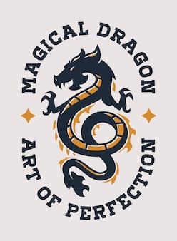 Magische draak vintage logo sjabloon