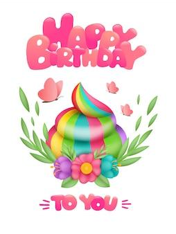 Magische eenhoorn regenboog kak in bloem frame. gelukkige verjaardag-wenskaart