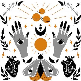 Magische en occulte trendy illustratie