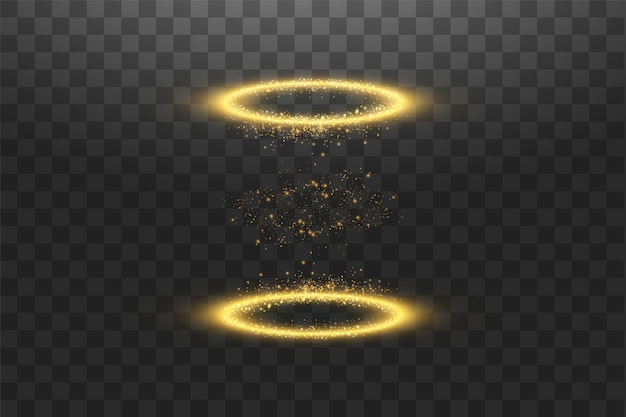 Magische fantasie portaal. futuristische teleport. lichteffect. gouden kaarsen stralen van een nachtscène met vonken op een transparante achtergrond. leeg lichteffect van het podium. discoclub dansvloer. vector