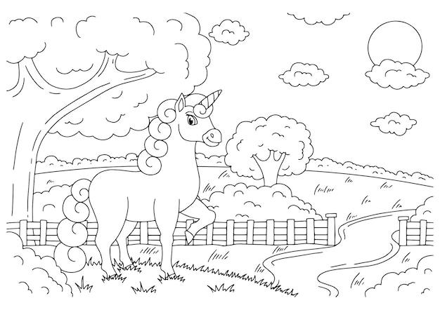Magische fee eenhoorn op landschap leuk paard kleurboekpagina voor kinderen