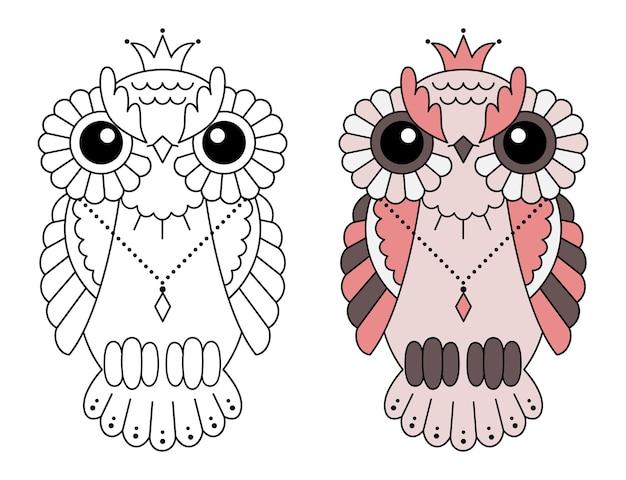 Magische gestileerde zentangle uil, doodle illustratie om in te kleuren. decoratieve wilde vogel.