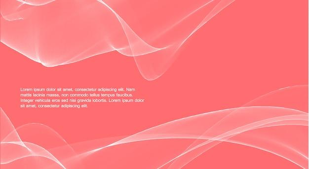 Magische golfkleur. levend koraal, de kleur van het jaar. geweldige witte lijnen over roze achtergrond.