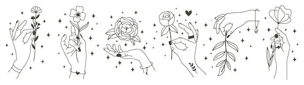 Magische handen met bloemen. minimalistische handen en bloemen, abstracte hand getrokken bloemen.