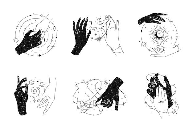 Magische handen set logo sjabloon. lineaire stijl, minimaal ontwerp. planeten, maanstanden, zon en sterren. esoterische en mystieke ontwerpelementen.