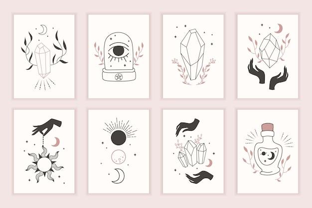 Magische heks symbolen. set mystieke sjablonen. hand getekend. kaarten met esoterische tekeningen. silhouet van handen, planeten, sterren, maanstanden en kristallen.