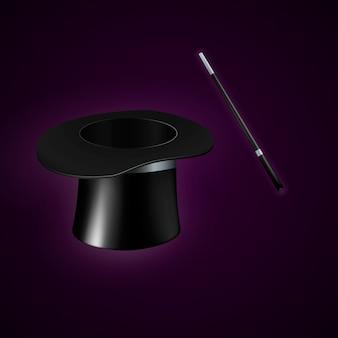 Magische hoed en toverstaf. illustratie