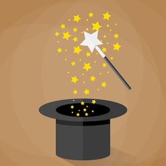 Magische hoed en toverstaf met fonkelende sterren