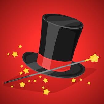 Magische hoed en toverstaf met glitters