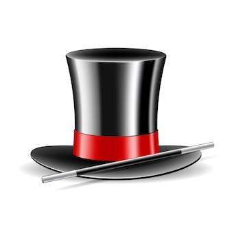 Magische hoed en toverstaf op wit wordt geïsoleerd