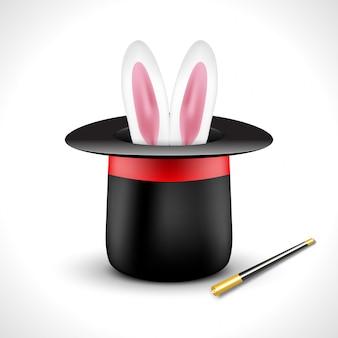 Magische hoed met konijnenoren. magische show prestaties ontwerp poster sjabloon