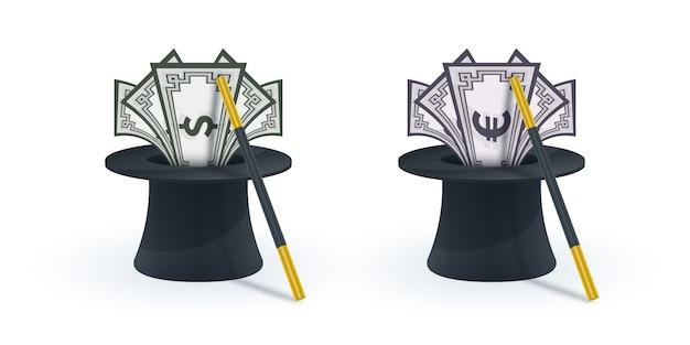 Magische hoed met toverstaf en bankbiljetten