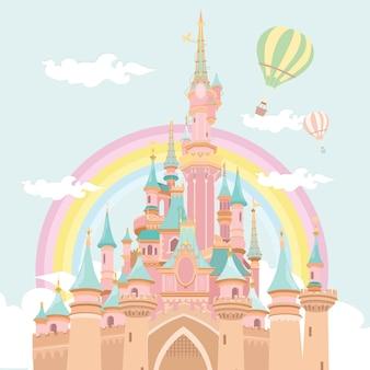 Magische kasteel hete lucht ballon illustratie