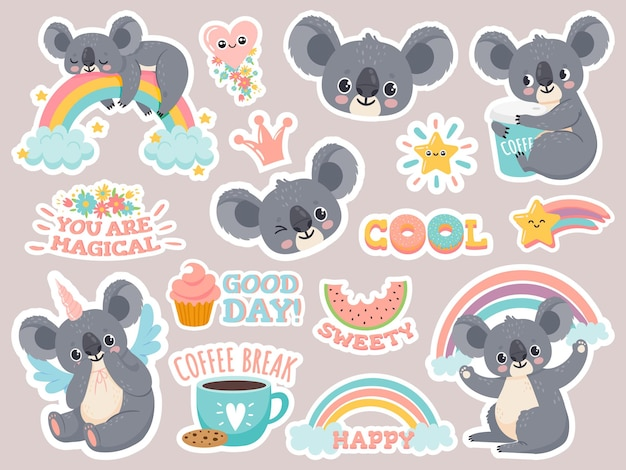 Magische koalastickers. luie australische koala's die op regenboog slapen. patches met schattige eenhoorns van babydieren. gelukkig sprookje cartoon vector set. illustratie koala grappig gezicht, australië lieve baby