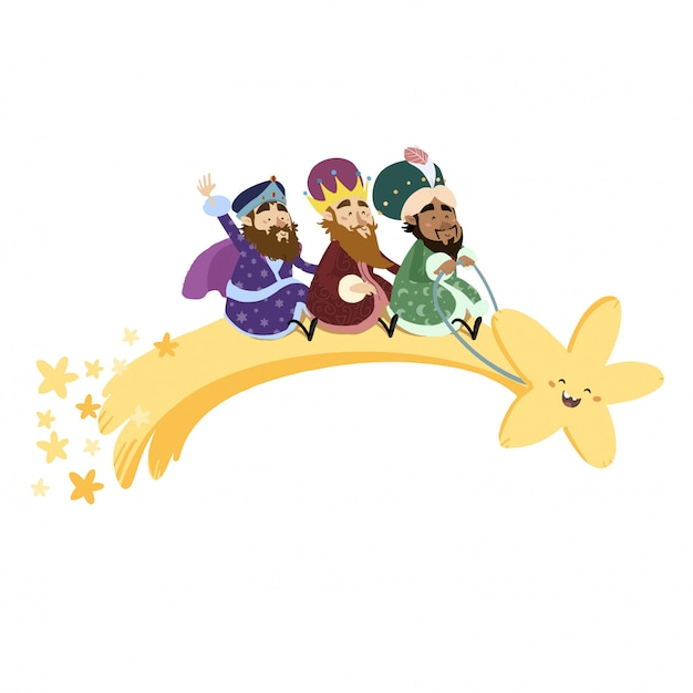 Magische koningen vliegen met een ster in kerstmis