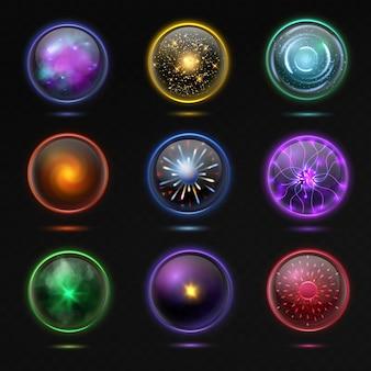 Magische kristallen bollen. gloeiende energiebol en glanzende bliksem, spirituele ronde prachtige glazen bol occulte voorspelling toekomst, magische ballen 3d vector geïsoleerde set