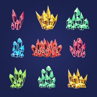 Magische kristallen pictogrammen texturen