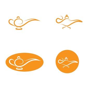 Magische lamp logo en pictogram vector afbeelding
