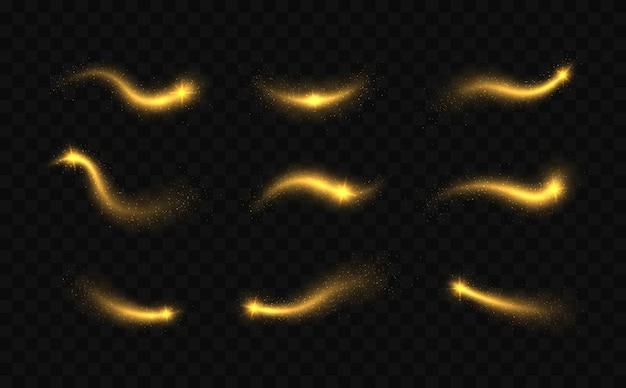 Magische lichtsporen abstracte kerstversiering gloeiende glitter schittert