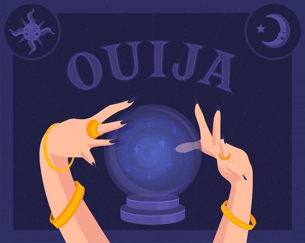 Magische magische bal en handen van een waarzegster