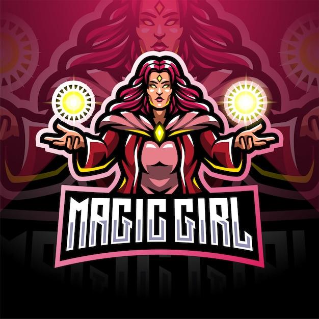 Magische meisjes esport mascotte logo ontwerp