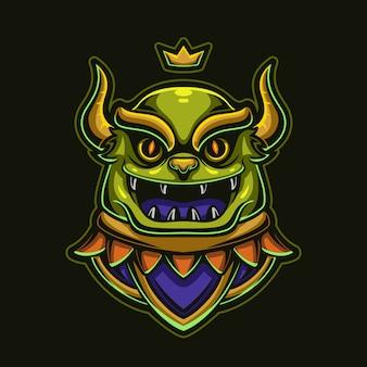 Magische monster hoofd cartoon logo sjabloon illustratie. esport logo gaming