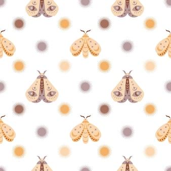 Magische naadloze patroon boho vlinder nachtvlinder met zon maan stareye geïsoleerd op een witte achtergrond