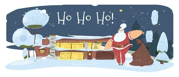 Magische nacht in kerstavond. kerstman met tas