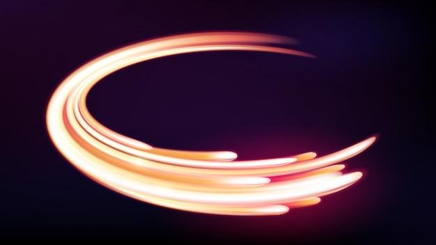 Magische neonlicht gebogen lijnen