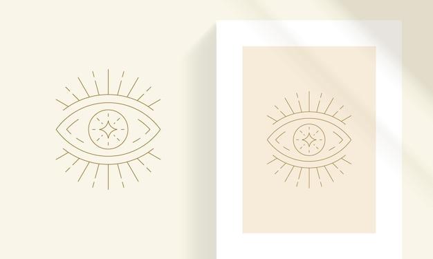 Magische oog en ster lijn kunst stijl vectorillustratie