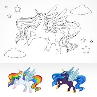 Magische pegasus eenhoorn in kleurboek die op de nachtelijke hemel vliegt met voorbeelden van kleurschema's