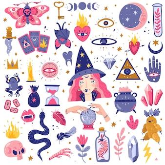 Magische pictogrammen doodles instellen afbeelding