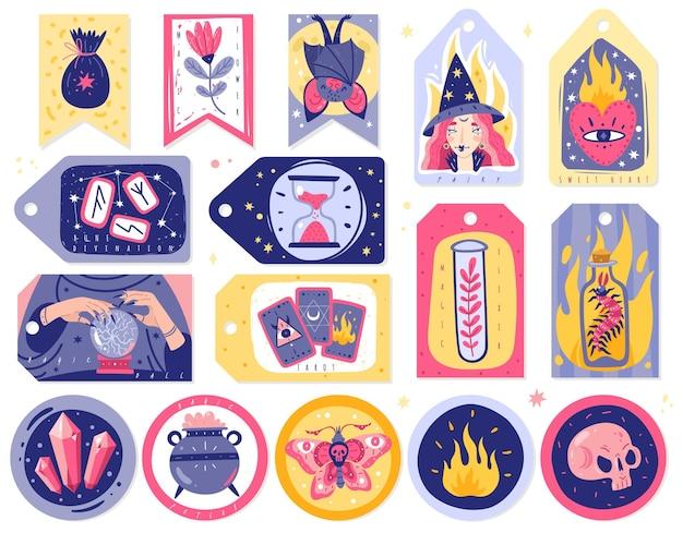 Magische pictogrammen doodles kaarten illustratie