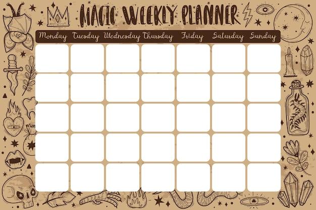 Magische pictogrammen doodles planner